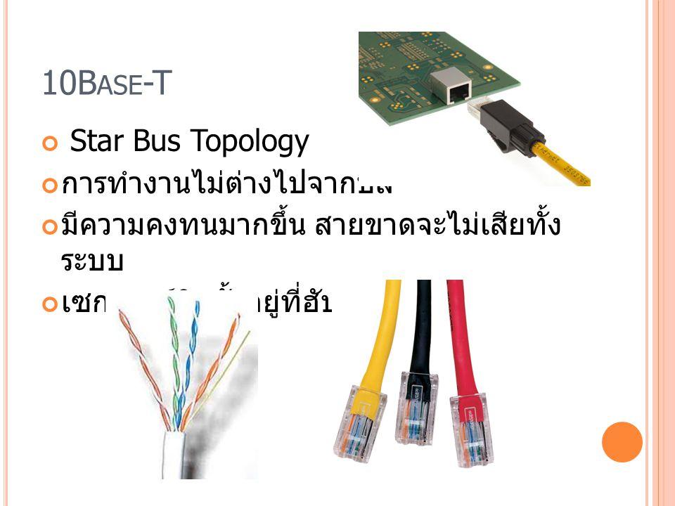 10Base-T Star Bus Topology การทำงานไม่ต่างไปจากบัส