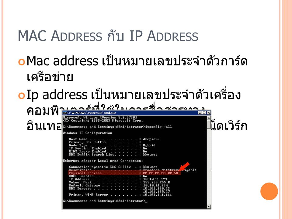 MAC Address กับ IP Address