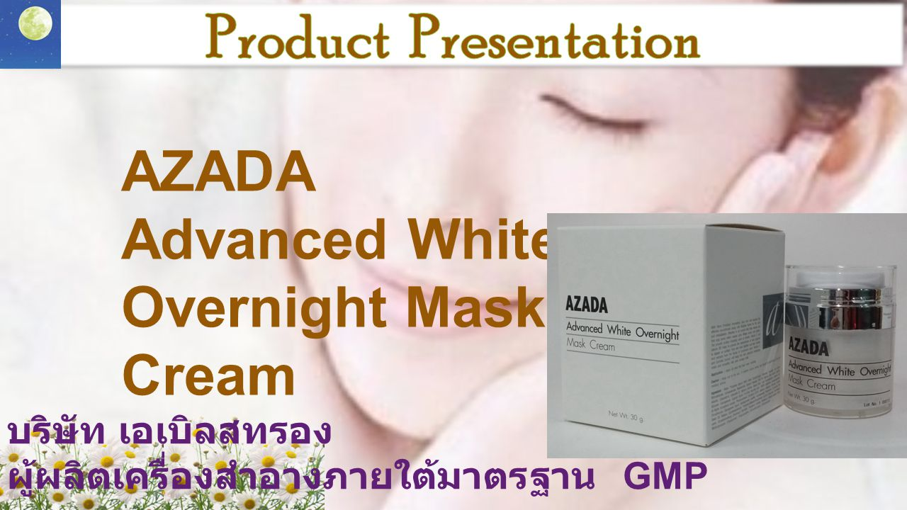 Product Presentation AZADA Advanced White Overnight Mask Cream