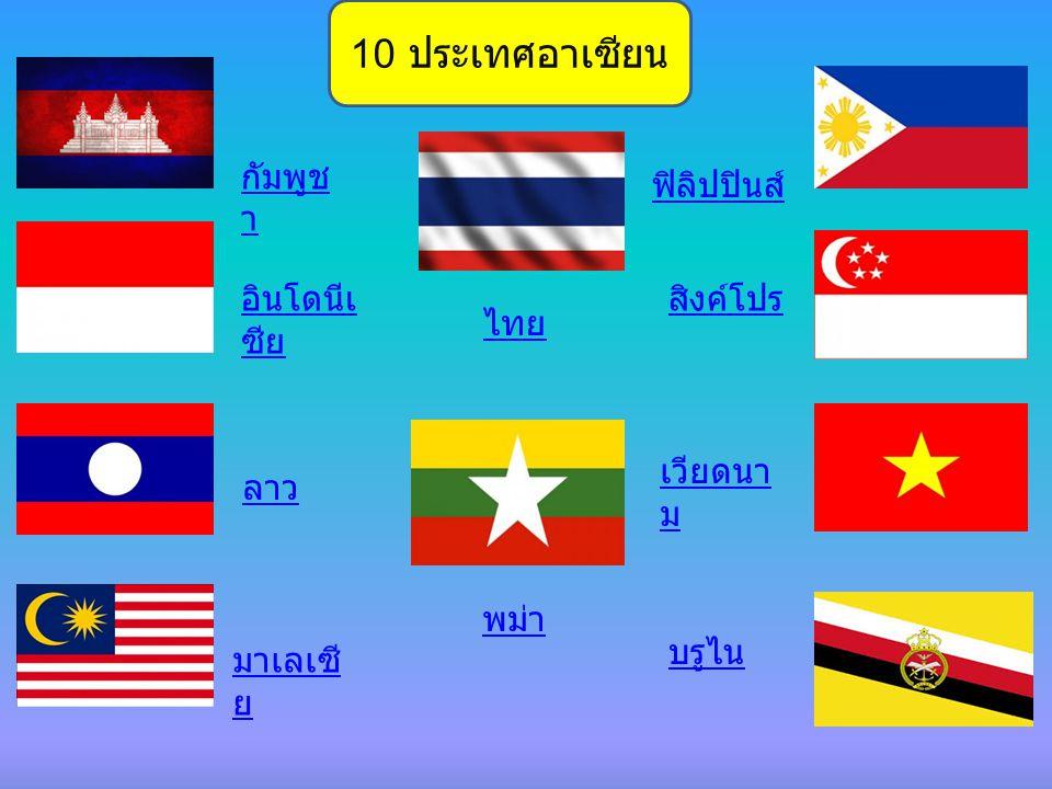 10 ประเทศอาเซียน กัมพูชา ฟิลิปปินส์ อินโดนีเซีย สิงค์โปร ไทย เวียดนาม