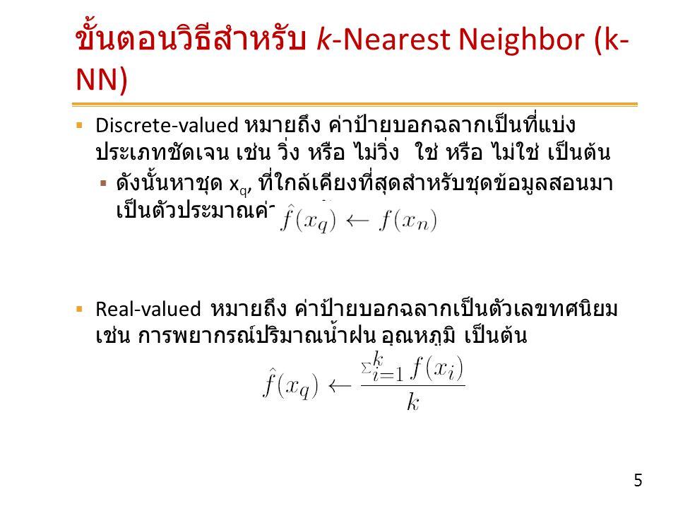 ขั้นตอนวิธีสำหรับ k-Nearest Neighbor (k-NN)