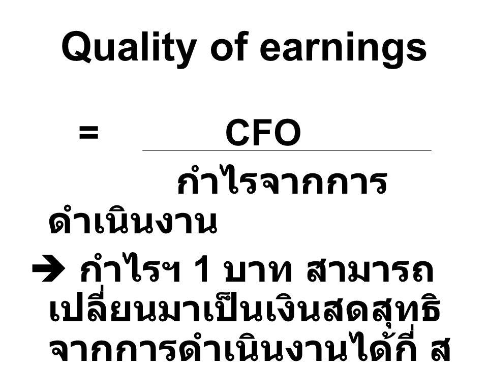 Quality of earnings กำไรจากการดำเนินงาน
