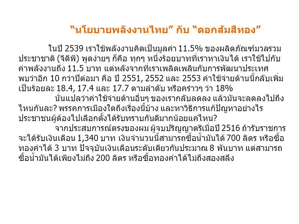 นโยบายพลังงานไทย กับ ดอกส้มสีทอง