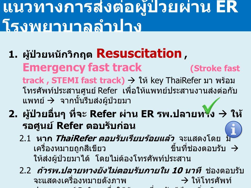 แนวทางการส่งต่อผู้ป่วยผ่าน ER โรงพยาบาลลำปาง