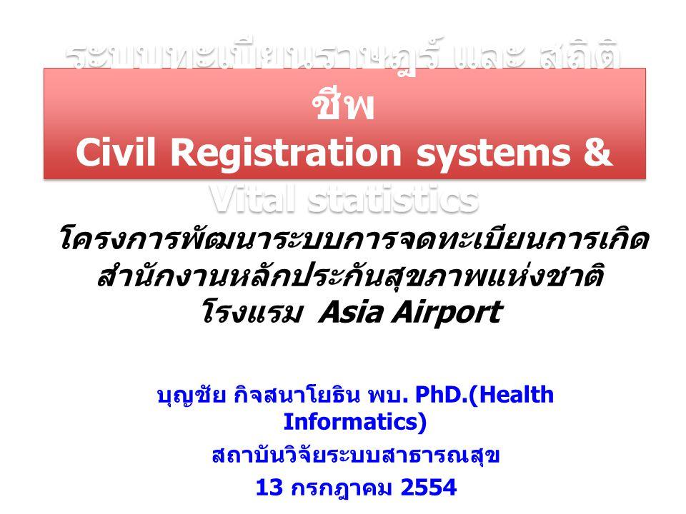 ระบบทะเบียนราษฎร์ และ สถิติชีพ Civil Registration systems & Vital statistics