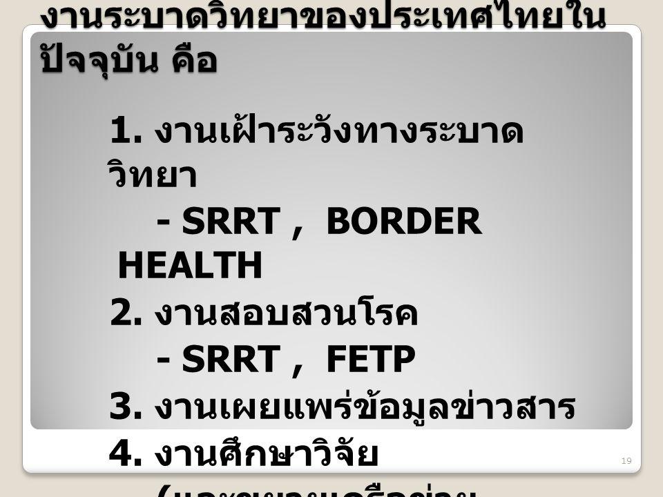 งานระบาดวิทยาของประเทศไทยในปัจจุบัน คือ