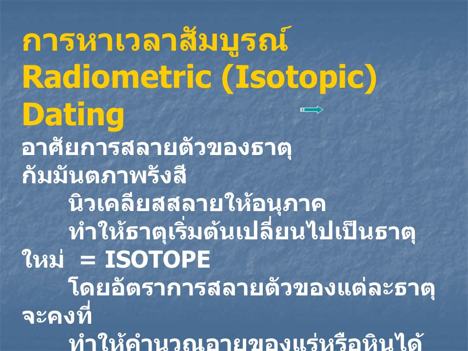 Radiometric (Isotopic) Dating