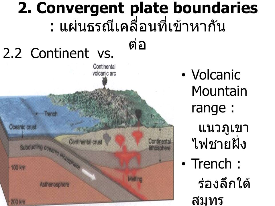 2. Convergent plate boundaries : แผ่นธรณีเคลื่อนที่เข้าหากัน ต่อ