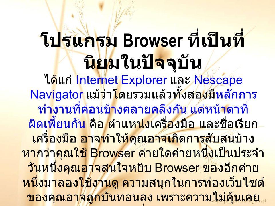 โปรแกรม Browser ที่เป็นที่นิยมในปัจจุบัน