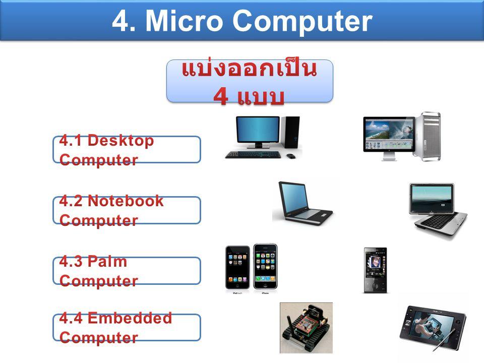 4. Micro Computer แบ่งออกเป็น 4 แบบ 4.1 Desktop Computer