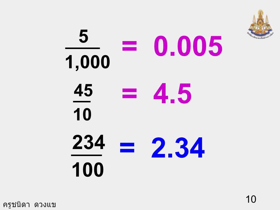 5 1,000 = 0.005 = 4.5 45 10 234 100 = 2.34