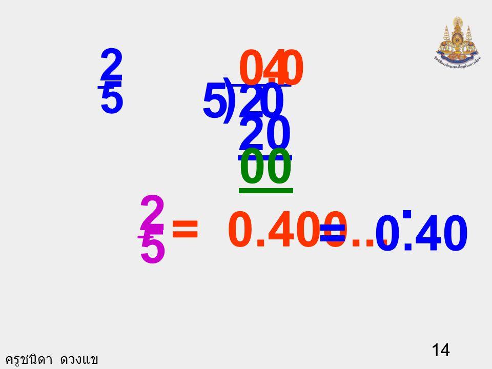 0. 4 2 5 ) 5 2 20 00 = 0.40 . 2 5 = 0.400...