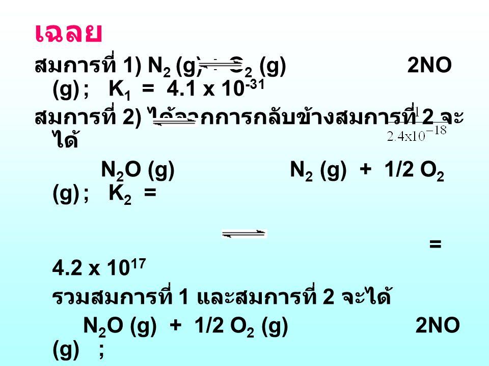 เฉลย สมการที่ 1) N2 (g) + O2 (g) 2NO (g) ; K1 = 4.1 x 10-31