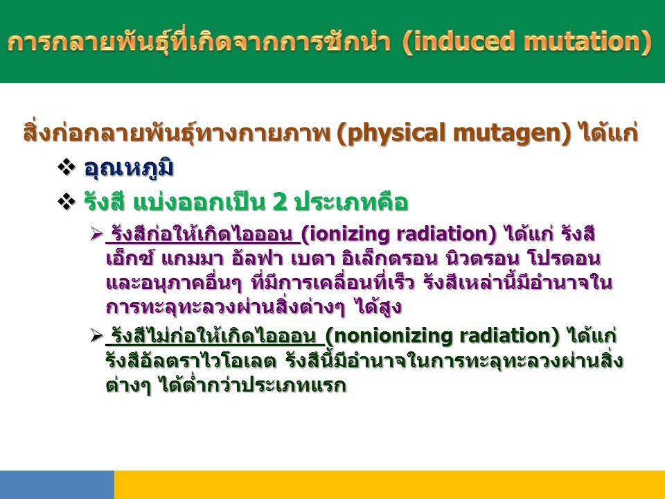 การกลายพันธุ์ที่เกิดจากการชักนำ (induced mutation)