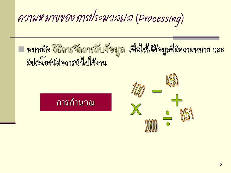 ความหมายของการประมวลผล (Processing)