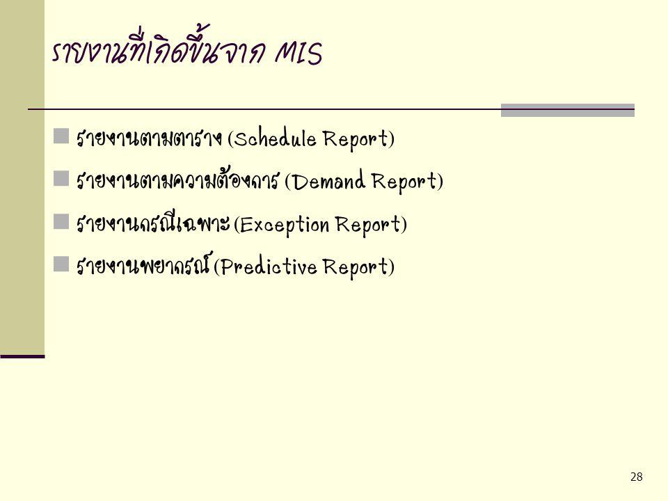 รายงานที่เกิดขึ้นจาก MIS
