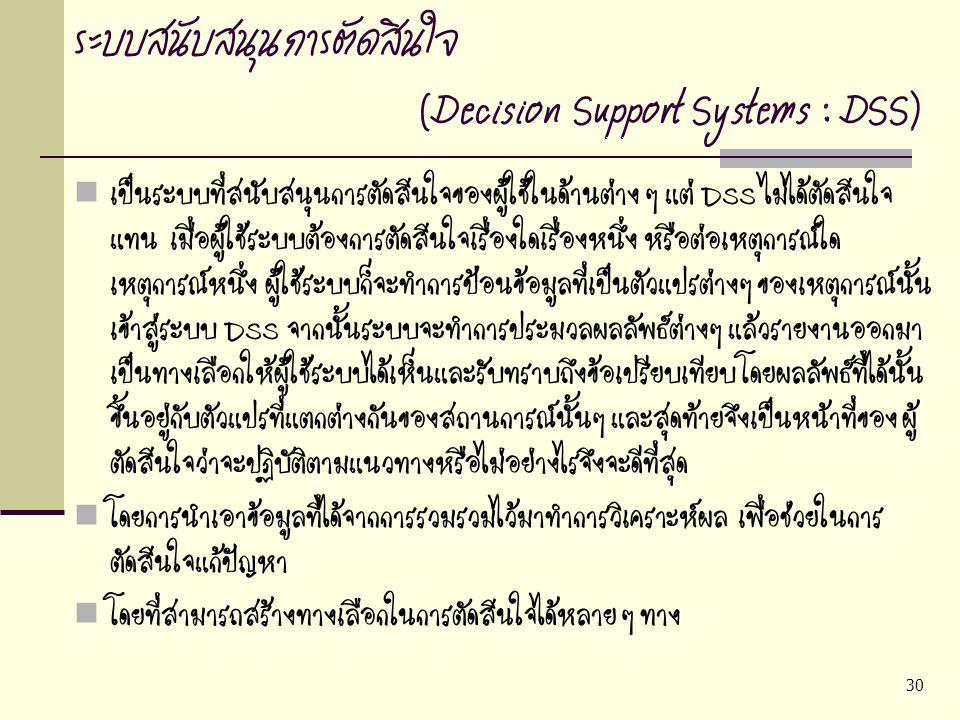 ระบบสนับสนุนการตัดสินใจ (Decision Support Systems : DSS)