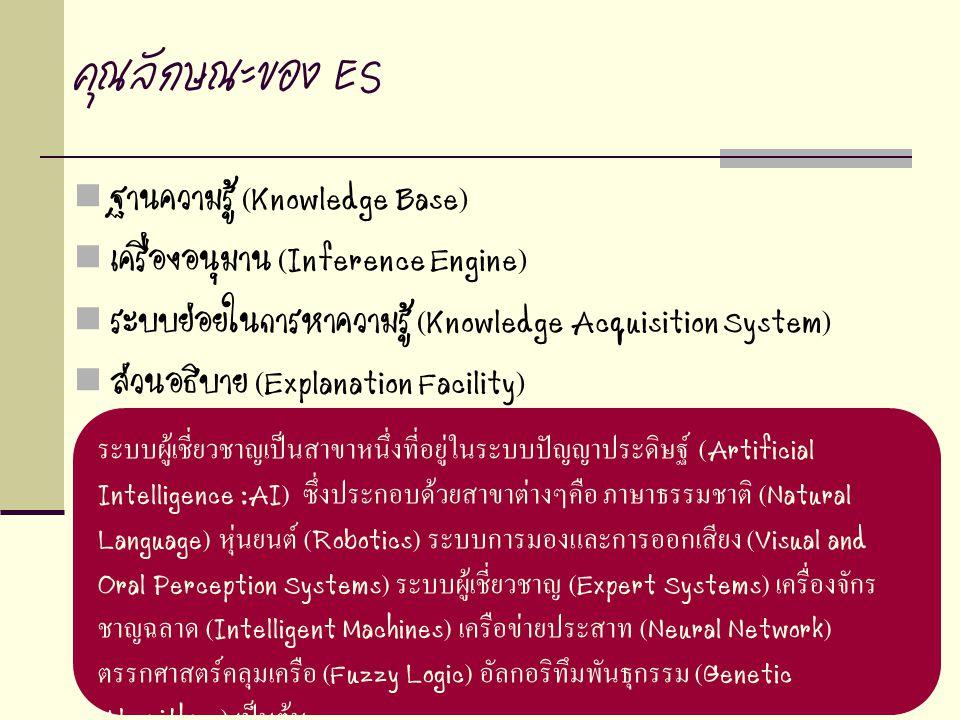 คุณลักษณะของ ES ฐานความรู้ (Knowledge Base)