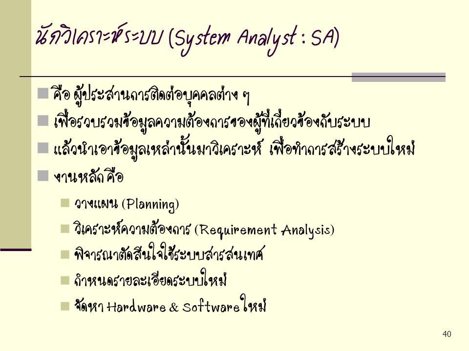 นักวิเคราะห์ระบบ (System Analyst : SA)
