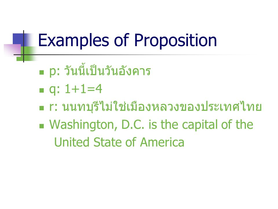 Examples of Proposition