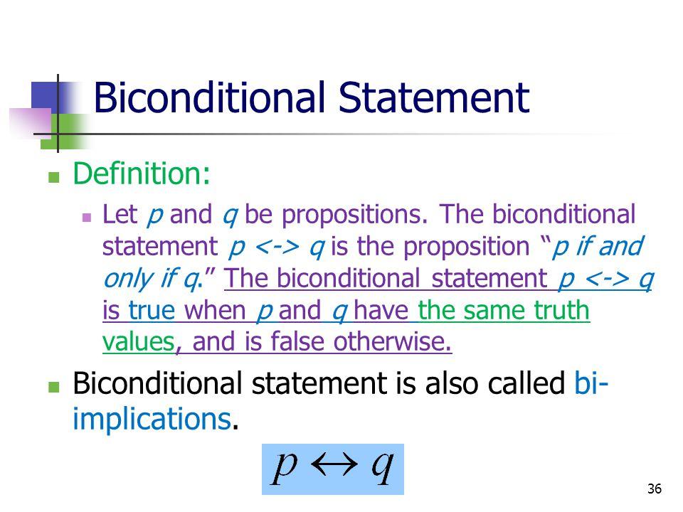 Biconditional Statement