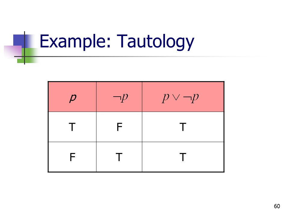 Example: Tautology p T F
