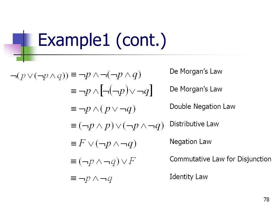 Example1 (cont.) De Morgan's Law Double Negation Law Distributive Law