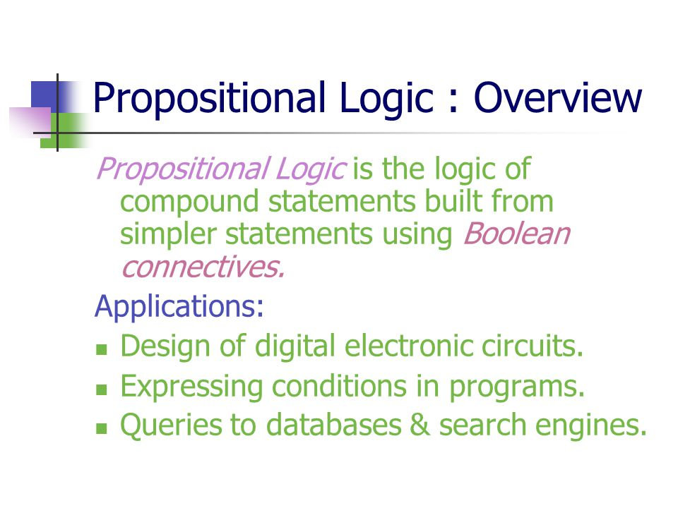 Propositional Logic : Overview