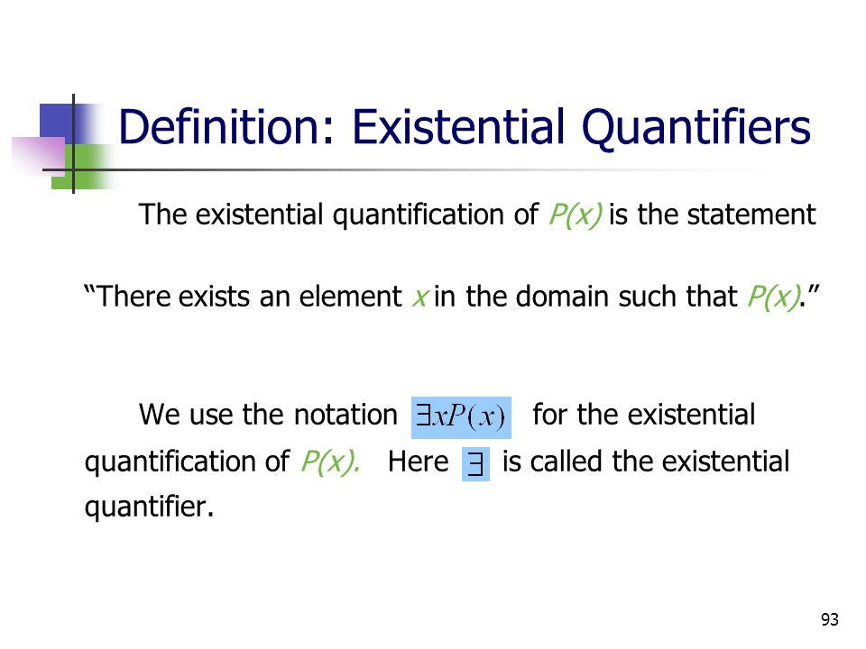 Definition: Existential Quantifiers