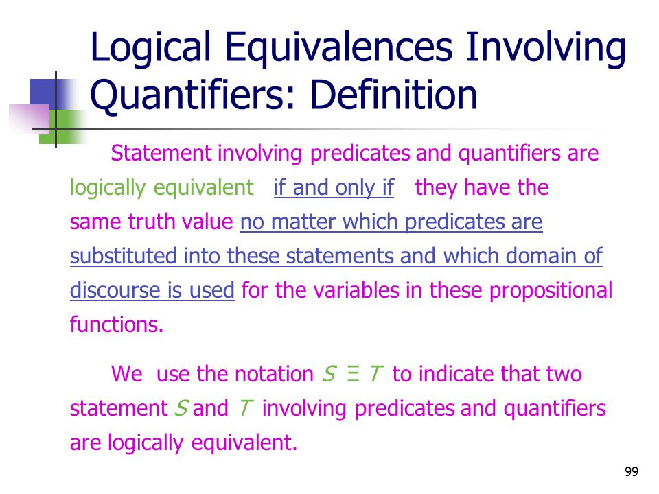 Logical Equivalences Involving Quantifiers: Definition