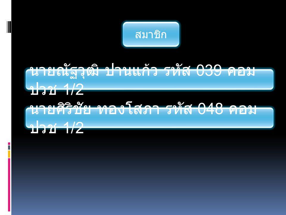 นายณัฐวุฒิ ปานแก้ว รหัส 039 คอม ปวช 1/2