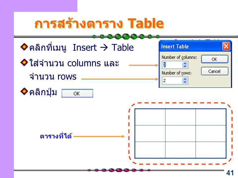 การสร้างตาราง Table คลิกที่เมนู Insert  Table