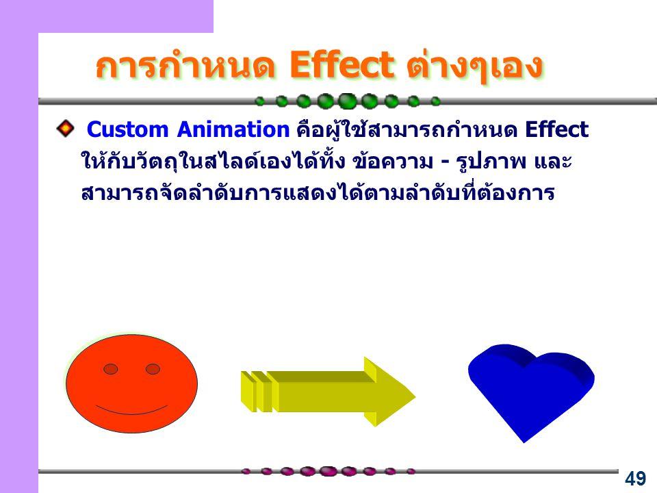 การกำหนด Effect ต่างๆเอง