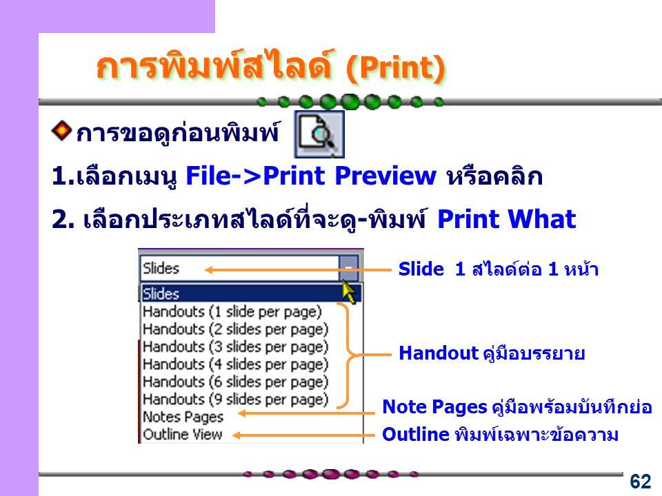 การพิมพ์สไลด์ (Print)