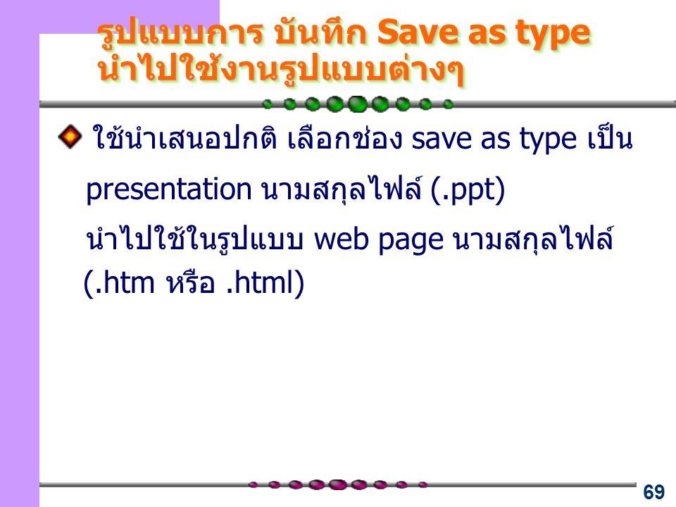 รูปแบบการ บันทึก Save as type นำไปใช้งานรูปแบบต่างๆ