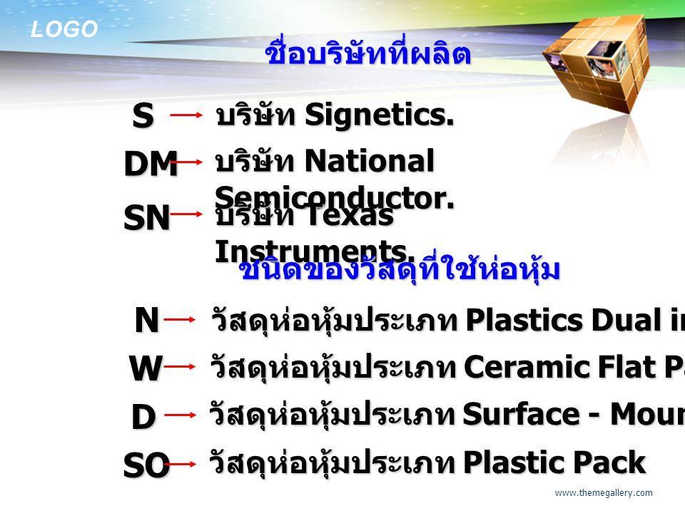 S DM SN N W D SO ชื่อบริษัทที่ผลิต บริษัท Signetics.