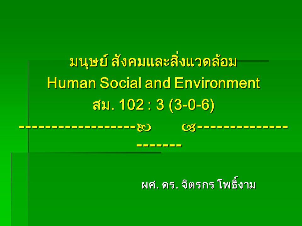 มนุษย์ สังคมและสิ่งแวดล้อม Human Social and Environment