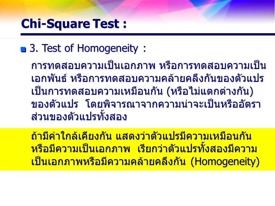 Chi-Square Test : 3. Test of Homogeneity :