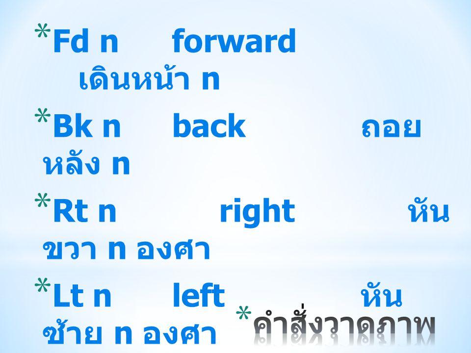 Fd n forward เดินหน้า n Bk n back ถอย หลัง n Rt n right หัน ขวา n องศา
