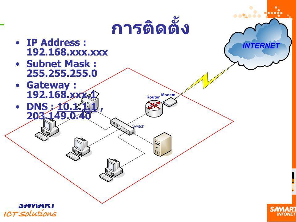การติดตั้ง IP Address : 192.168.xxx.xxx Subnet Mask : 255.255.255.0