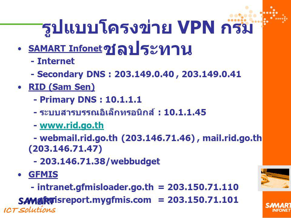 รูปแบบโครงข่าย VPN กรมชลประทาน