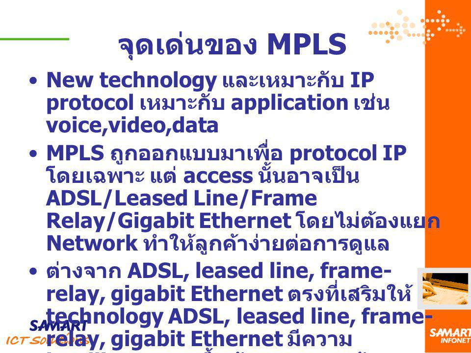 จุดเด่นของ MPLS New technology และเหมาะกับ IP protocol เหมาะกับ application เช่น voice,video,data.