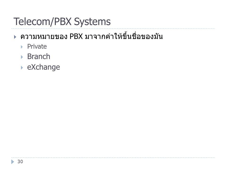 Telecom/PBX Systems ความหมายของ PBX มาจากคำให้ขึ้นชื่อของมัน Branch