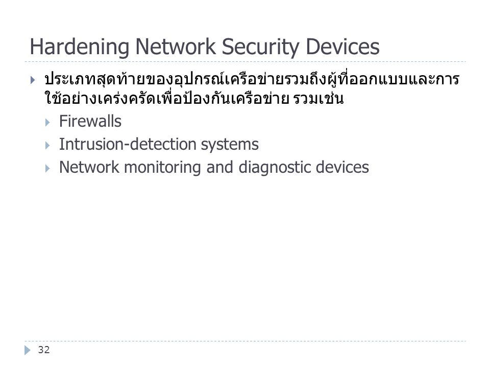 Hardening Network Security Devices