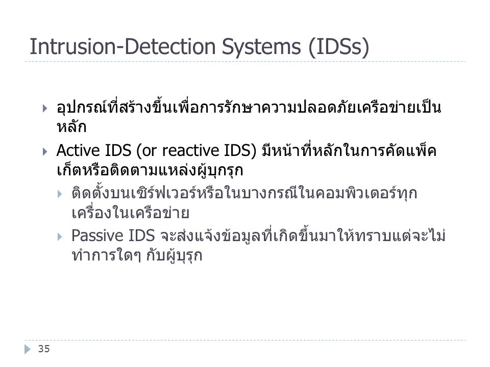 Intrusion-Detection Systems (IDSs)