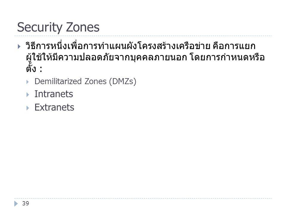 Security Zones วิธีการหนึ่งเพื่อการทำแผนผังโครงสร้างเครือข่าย คือการแยก ผู้ใช้ให้มีความปลอดภัยจากบุคคลภายนอก โดยการกำหนดหรือ ตั้ง :