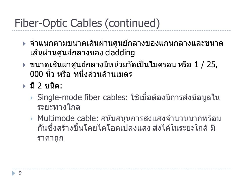 Fiber-Optic Cables (continued)
