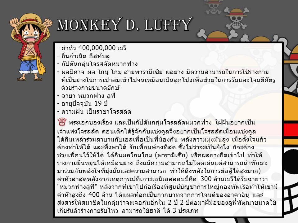 Monkey D. Luffy - ค่าหัว 400,000,000 เบรี - ถิ่นกำเนิด อีสท์บลู - กัปตันกลุ่มโจรสลัดหมวกฟาง.