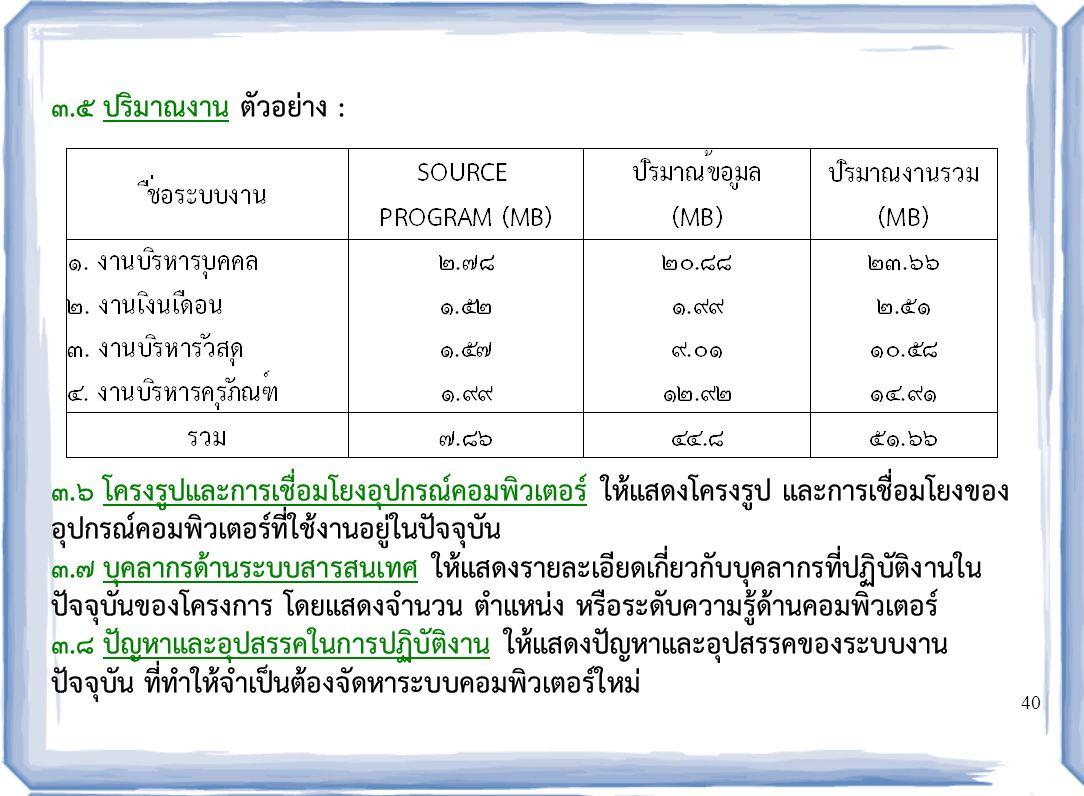 08/04/60 ๓.๕ ปริมาณงาน ตัวอย่าง :