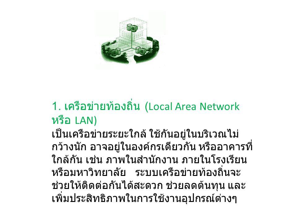 1. เครือข่ายท้องถิ่น (Local Area Network หรือ LAN)